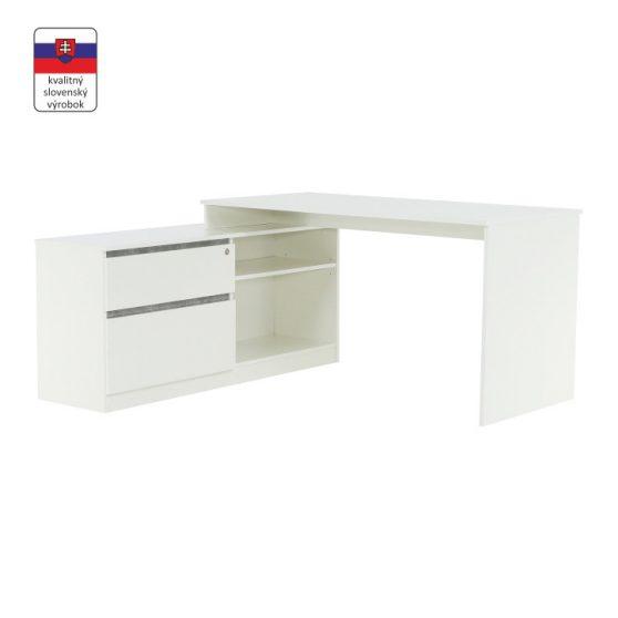 BENTOS Sarok számítógépasztal polccal fehér/beton