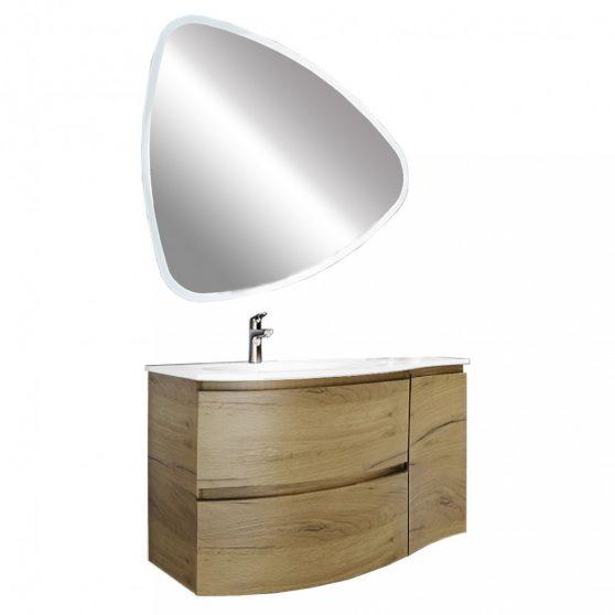 Ambrózia 100 fürdőszoba bútor aszimmetrikus LED tükörrel