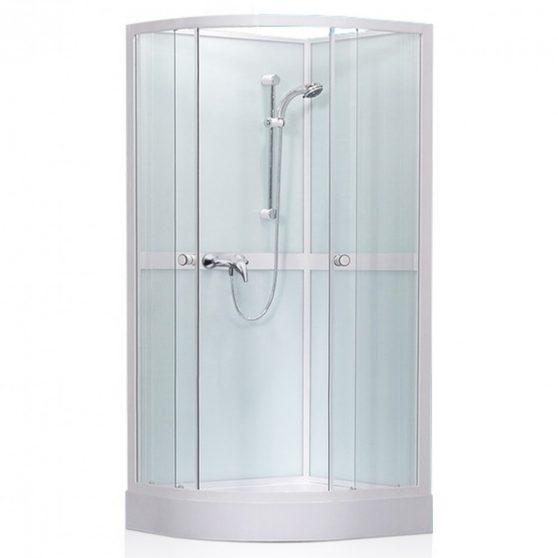 Simple íves, üveg hátfalas zuhanykabin zuhanytálcával