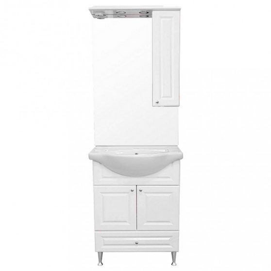 Rómeó 65 komplett fürdőszoba bútor, magasfényű fehér színben, jobbos