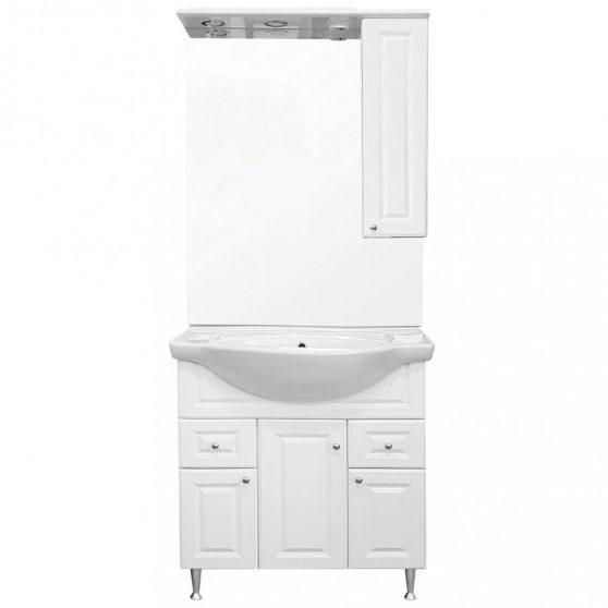Romeo 75 komplett fürdőszoba bútor, magasfényű fehér színben, jobbos