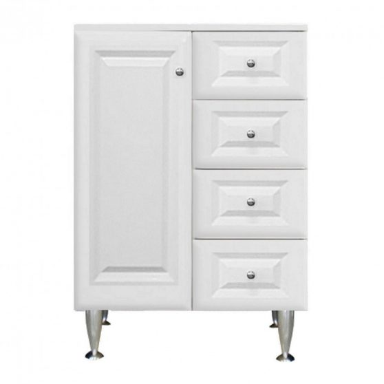 Rómeó alacsony szekrény 60 cm 1 ajtós, 4 fiókos, magasfényű fehér színben, balos