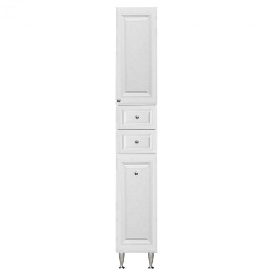 Rómeó magas szekrény 30 cm 1 ajtós 2 fiókos szennyestartós, magasfényű fehér színben, jobbos