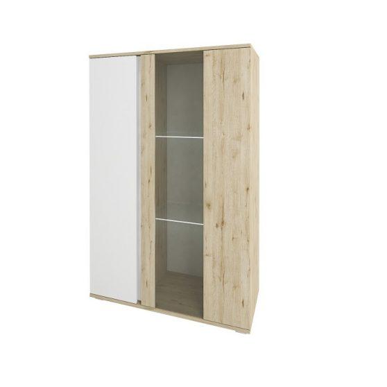 Vitrines szekrény alacsony, tölgy wellington-fehér, LEIRA 1D1W