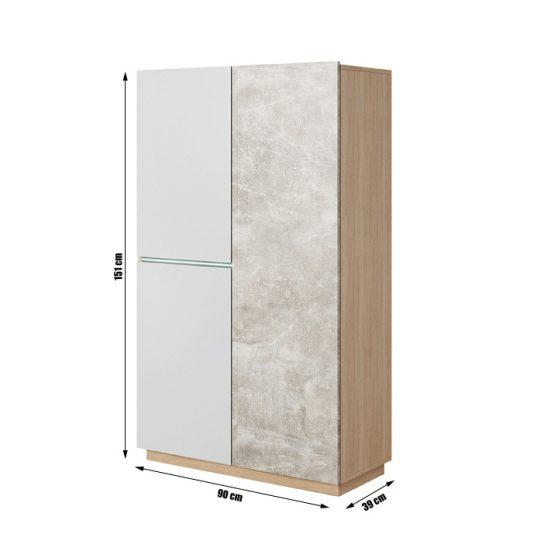 Szekrény, beton-tölgy borostyán-fehér matt, LAGUNA