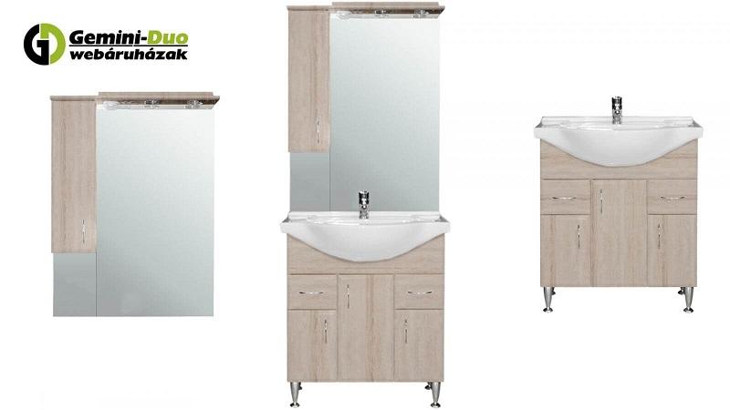 Bianca Plus fürdőszoba bútorcsalád 3 különböző variációja (felső szekrény + tükör, komplett fürdőszoba bútor, alsószekrény mosdóval)