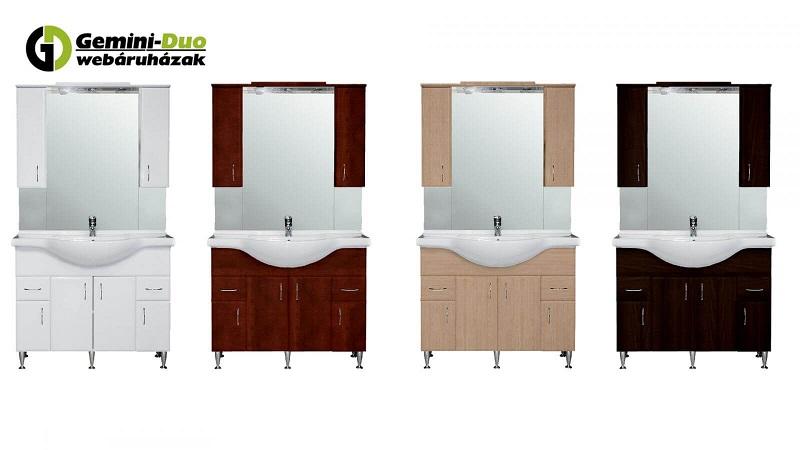 A Bianca Plus fürdőszoba bútor 4 különböző színben rendelhető (magasfényű fehér, rauna szil, sonoma tölgy, aida dió)